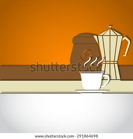 Vector Illustration of Coffee Outline concept for Design, Website, Background, Banner. Coffe beans Element Template for you Restaurant Menu or Infographic. Hot cup fro pot. - stock vector