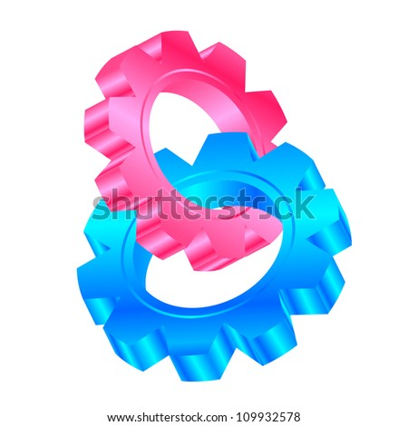 Vector illustration of cog wheels entwined - stock vector