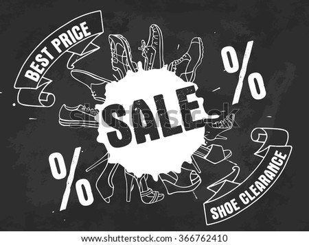Vector illustration of collection Fashion Men and Women's Shoe in black and white colors. Can be used for poster, advertising, web. - stock vector