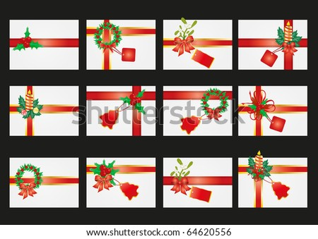 Vector illustration of collection of card with ribbon and mistletoe - stock vector