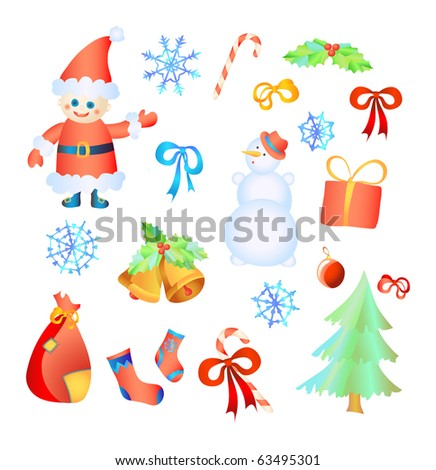 Vector illustration of collection of Christmas elements - stock vector