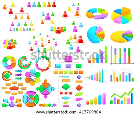 vector illustration of collection of colorful business graph and flow chart