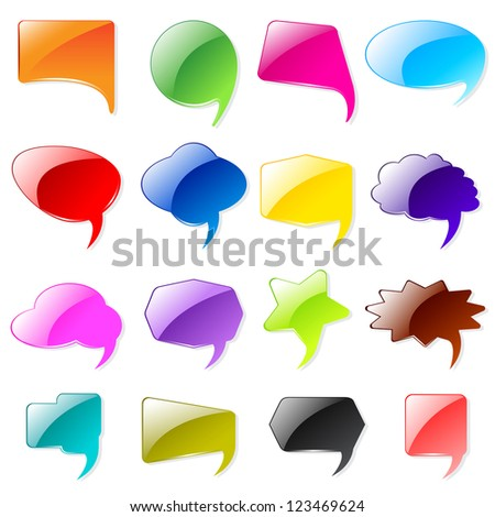 vector illustration of collection of colorful chat bubble - stock vector