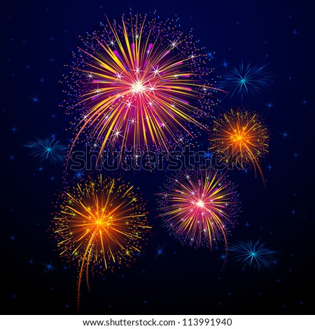 vector illustration of collection of colorful firework for celebration - stock vector