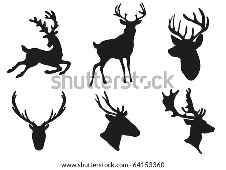 Vector illustration of collection of deers silhouette - stock vector