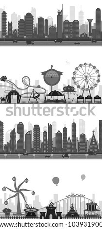 vector illustration of collection of different cityscape silhouette