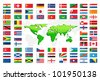vector illustration of collection of different country flag with world map - stock photo