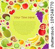 vector illustration of collection of fruit in pattern background - stock photo