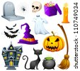 vector illustration of collection of Halloween icon set - stock vector