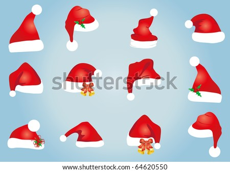 Vector illustration of collection of hats for Santa Claus - stock vector