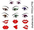 vector illustration of collection of many eyes and lips with different expression - stock