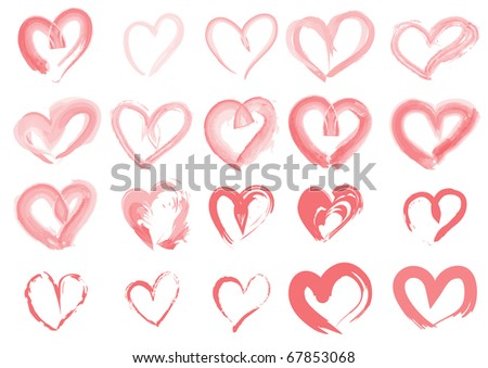 Vector illustration of collection of pink hearts - stock vector