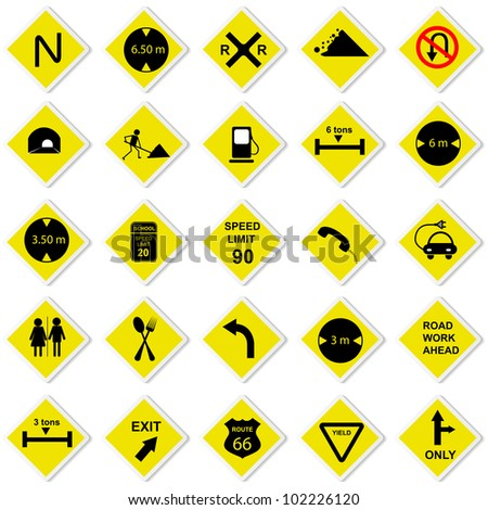 vector illustration of collection of road sign for highway - stock vector