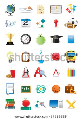 Vector illustration of collection of several educational icons - stock vector