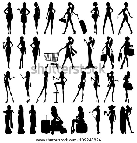 vector illustration of collection of silhouette of woman - stock vector