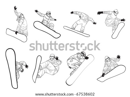 Vector illustration of collection of snowboarders doing different extreme tricks - stock vector