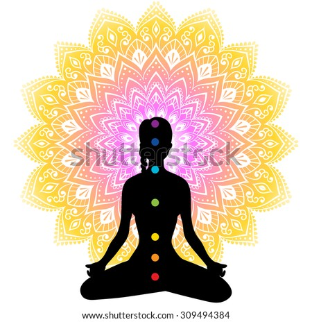 Vector illustration of Color chakras with woman - stock vector