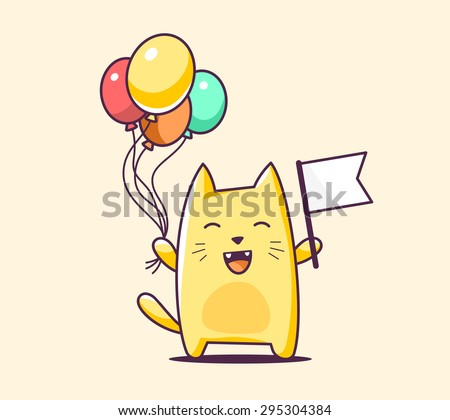 Vector illustration of color character cat with flag and balloons on yellow background. Hand draw line art design for web, site, advertising, banner, poster, board, print and card.   - stock vector