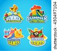 Vector illustration of color emblems with toys for summer games on inflatable playground. Advertise labels with place for your text. Pictures isolate on blue background