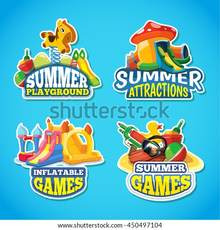 Vector illustration of color emblems with toys for summer games on inflatable playground. Advertise labels with place for your text. Pictures isolate on blue background - stock vector