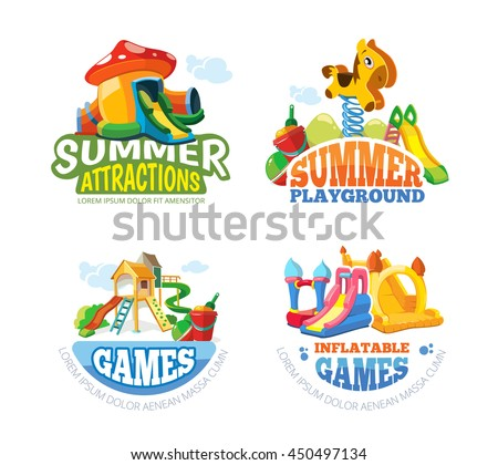 Vector illustration of color emblems with toys for summer games on inflatable playground. Advertise labels with place for your text. Pictures isolate on white background - stock vector