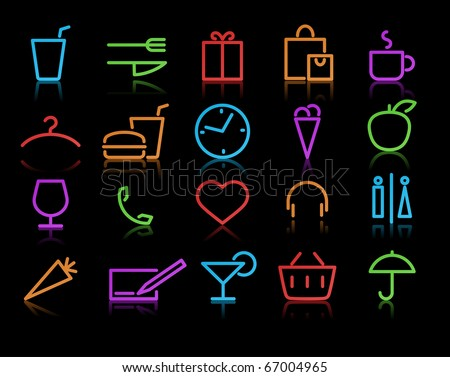 Vector illustration of color neon original style life Icon Set - stock vector