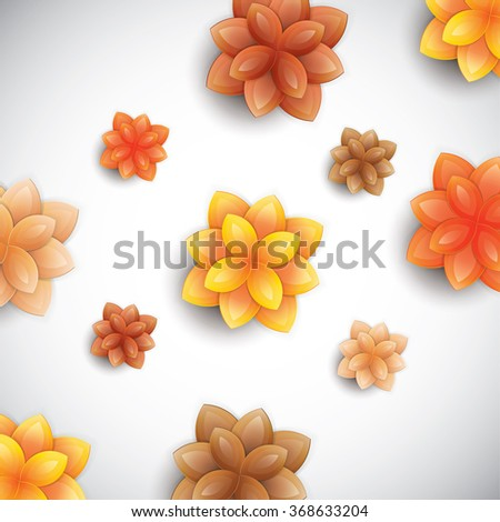 Vector illustration of color paper flowers - stock vector