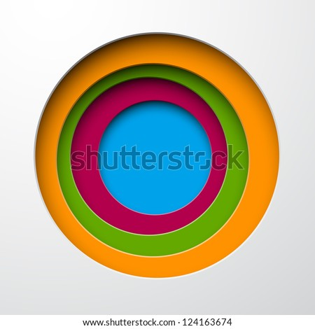 Vector illustration of color paper notched out round bubbles. Eps10. - stock vector
