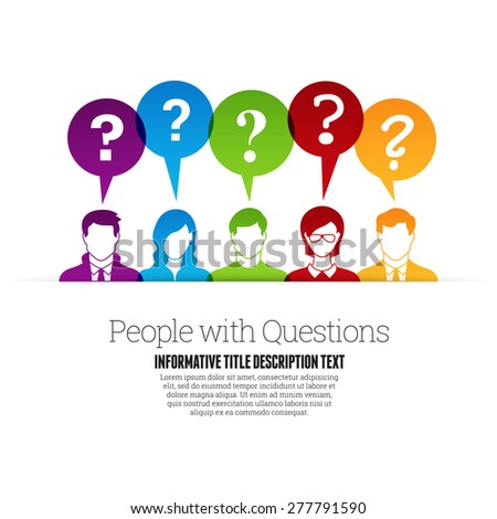Vector illustration of color people profile with question marks talk bubbles. - stock vector