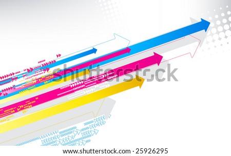 vector illustration of color print arrows