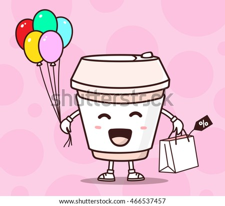 Vector illustration of color smile takeaway coffee cup with shopping package, air balloons on pink background. Creative cartoon coffee concept. Doodle style. Thin line art flat design of shopping