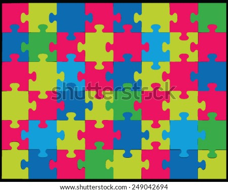 Vector illustration of colored  jigsaw puzzle 2, separate pieces