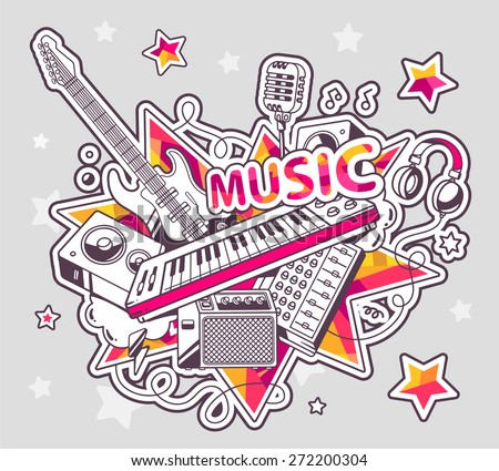 Vector illustration of colored set of musical instruments on a gray background with stars. Hand draw line art design for web, site, advertising, banner, poster, board and print.   - stock vector