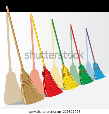 Vector illustration of colored standing brooms with their shadows - stock vector