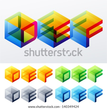 Vector illustration of colored text in isometric view. Cube-styled monospace characters. D E F - stock vector