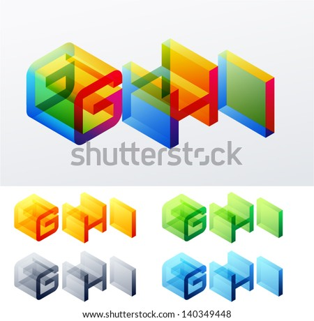 Vector illustration of colored text in isometric view. Cube-styled monospace characters. letters G H I - stock vector