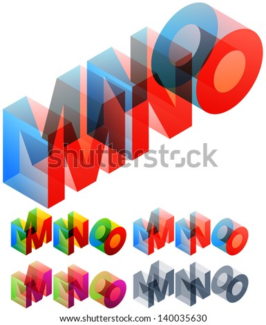 Vector illustration of colored text in isometric view. Standard characters. letters M N O - stock vector