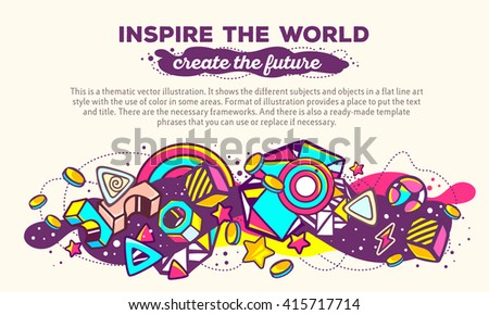 Vector illustration of colorful abstract composition with header and text on light background. Inspire the world. Create the future concept template. Line art futuristic artwork. Design for web, site - stock vector