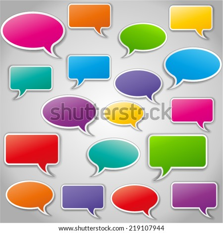 Vector illustration of colorful abstract speech bubbles set - stock vector
