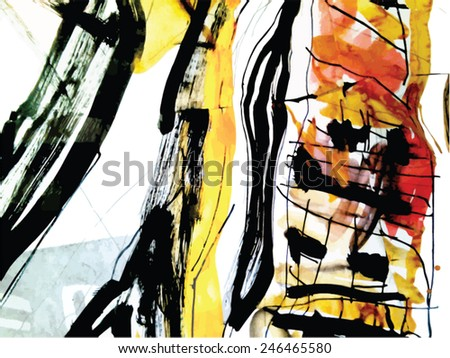 Vector illustration of colorful abstract watercolor composition. Abstract background, with paint strokes and splashes. - stock vector