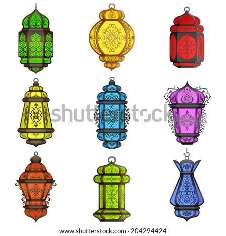 vector illustration of colorful Arabic lamp for Eid celebration - stock vector