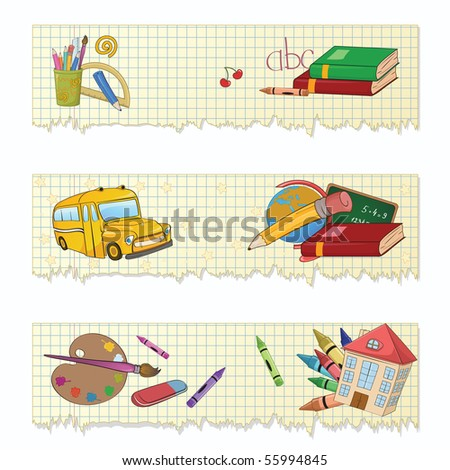 Vector illustration of Colorful Back to school banners or stickers set - stock vector