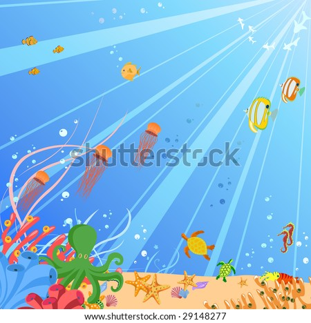 Vector illustration of Colorful background with creatures of the seas. Friendly kids style. - stock vector