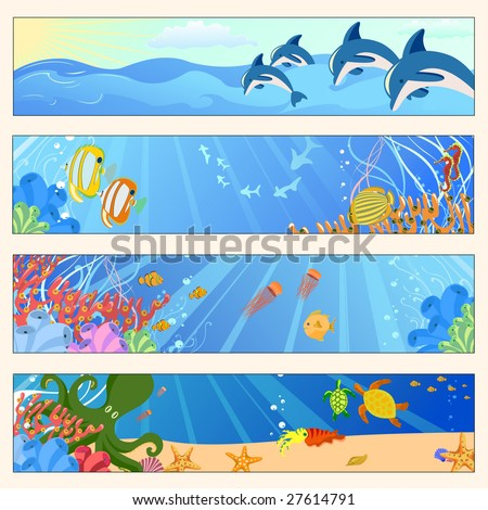 Vector illustration of Colorful banners set with creatures of the seas. Friendly kids style. - stock vector