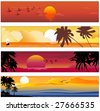Vector illustration of Colorful banners set with tropical summer designs - stock vector