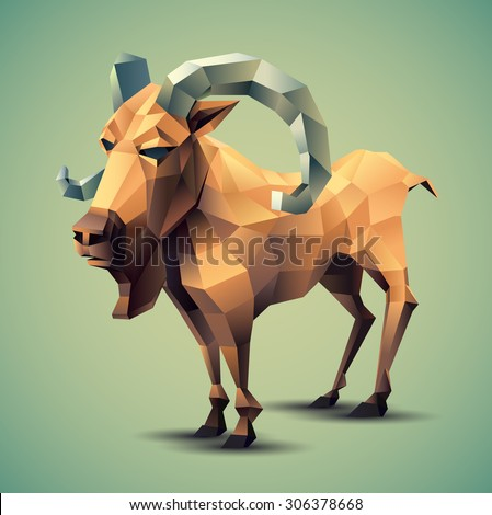 Vector Illustration of Colorful Beige Polygonal Goat with Grey Horns on Blue Green Background
