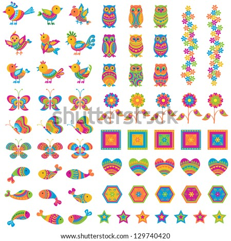vector illustration of colorful bird,butterfly and fish for designing - stock vector