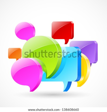 vector illustration of colorful chat bubble forming forum - stock vector