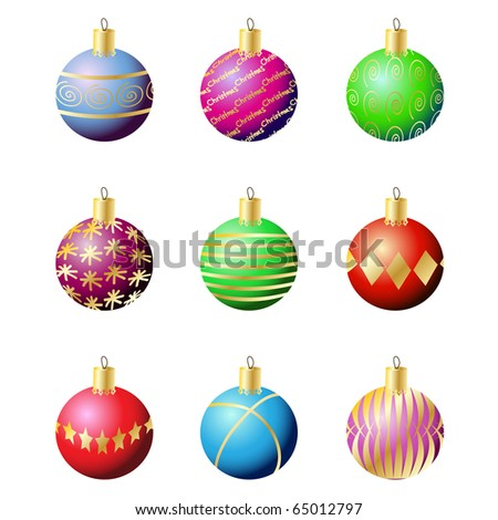 Vector - Illustration of colorful christmas decoration balls with various patterns