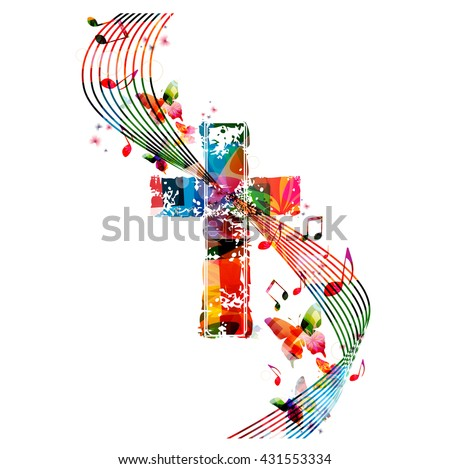 Vector illustration of colorful cross with butterflies - stock vector